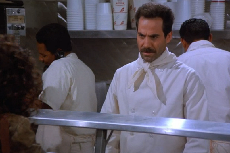 The Soup Nazi from 'Seinfeld' giving bad customer service