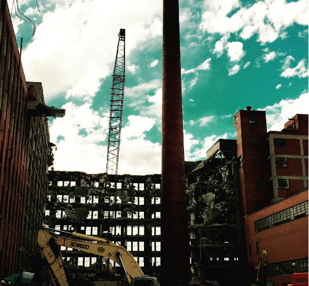 Demolition in downtown Springfield, Ohio