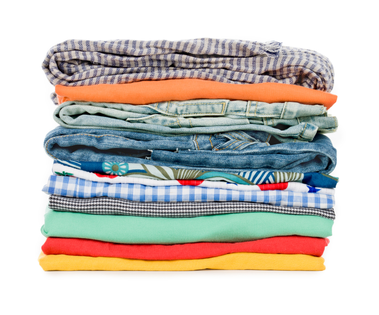 stack of clothing on white background
