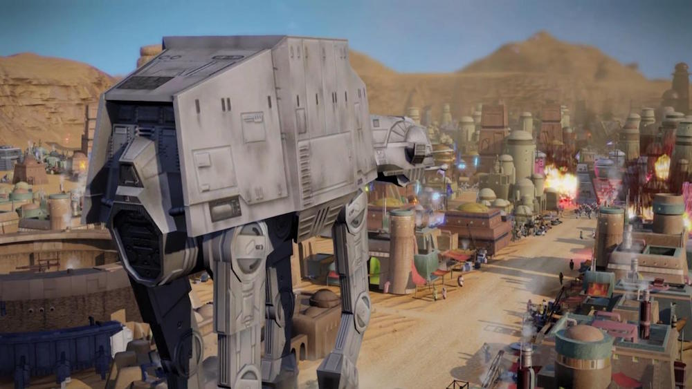 An AT-AT marches through a desert city, fighting the rebel alliance.