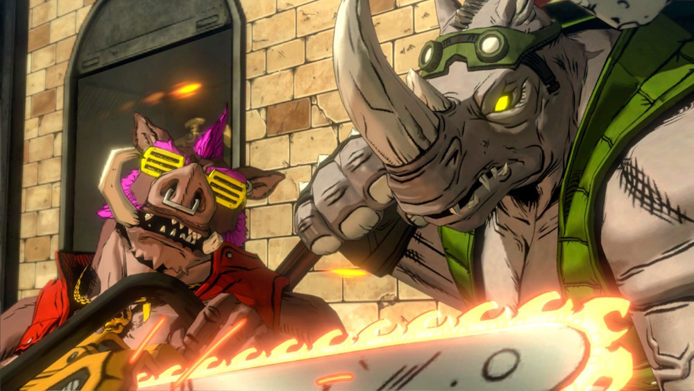 Bebop and Rocksteady prepare to fight the turtles in Mutants in Manhattan