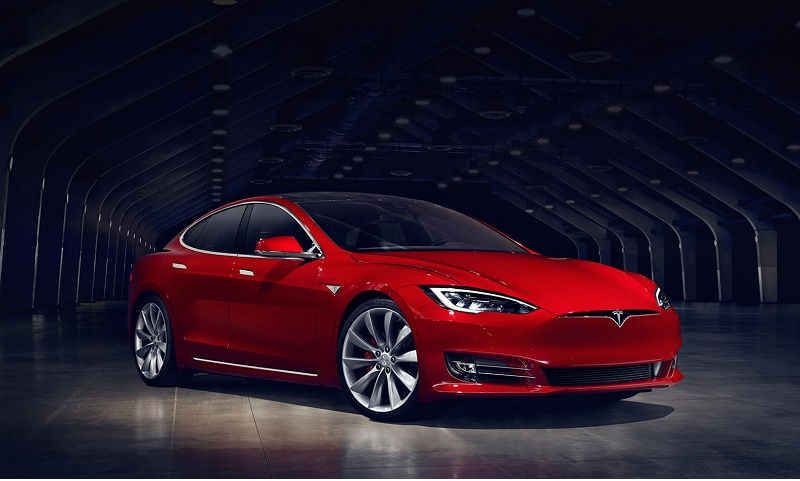 A red 2016 Tesla Model S