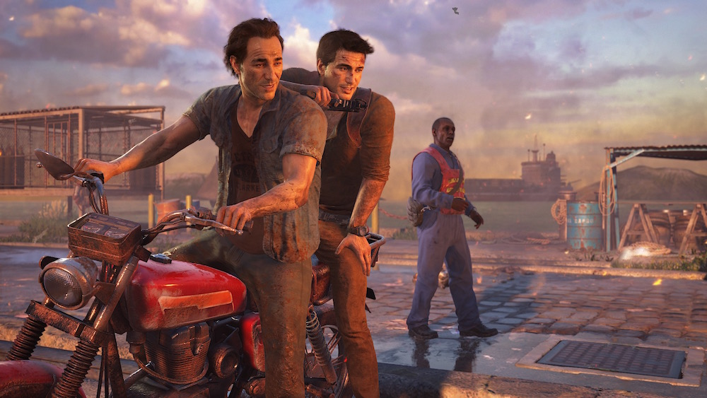 Nathan Drake and his brother Sam in Uncharted 4.