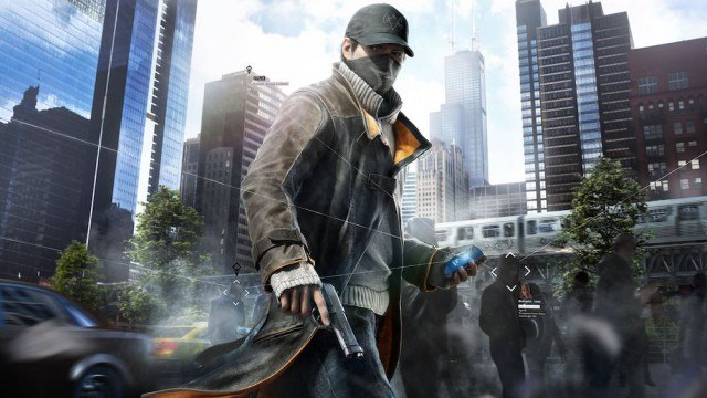 Watch Dogs hero Aiden Pearce holds a gun and a cell phone in downtown Chicago