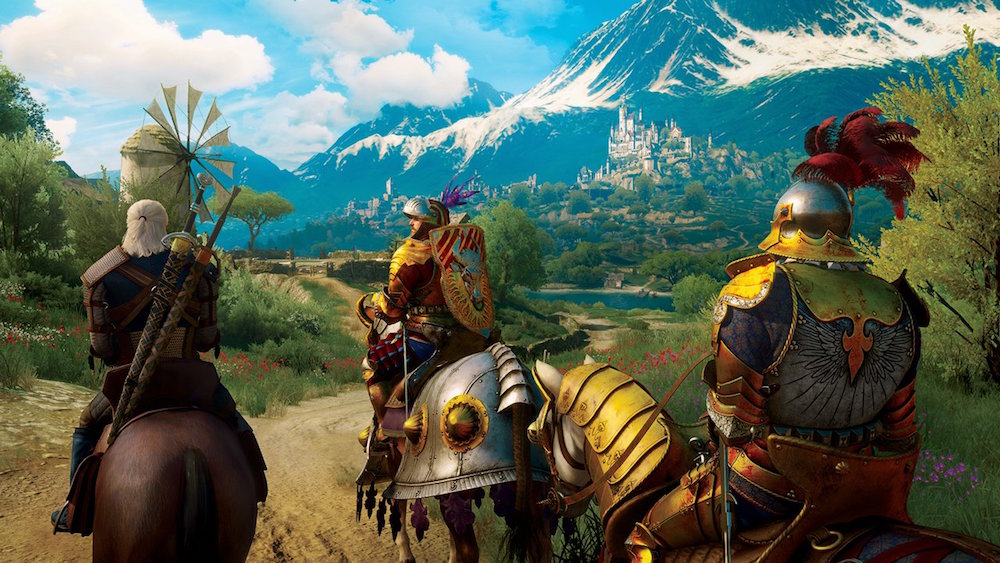 Geralt of Rivia rides a horse on a dirt path in The Witcher 3: Blood and Wine.