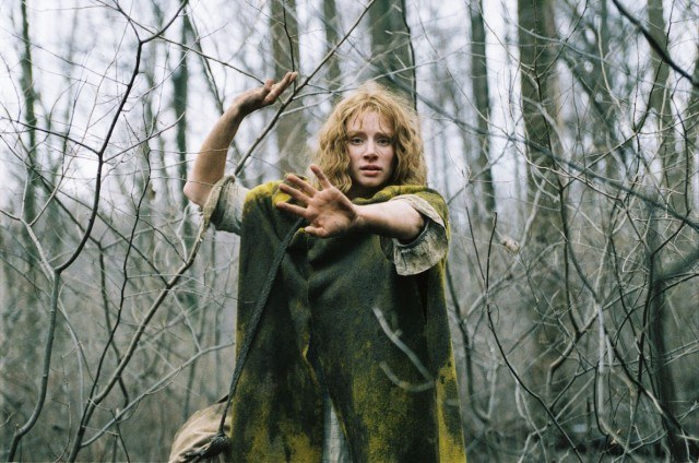 Ivy (Bryce Dallas Howard) escapes in the woods in a scene from 'The Village'