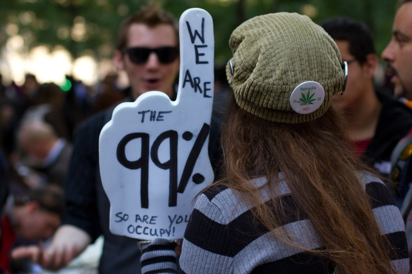 woman protesting income inequality at Occupy Wall Street