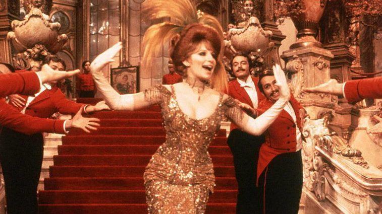 Barbra Streisand dances in evening wear in Hello Dolly