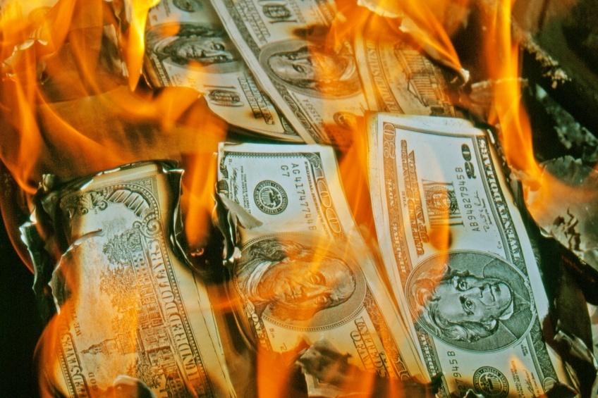 Dollar bills burning in fire