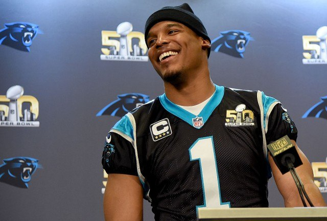 SAN JOSE, CA - FEBRUARY 04: Quarterback Cam Newton #1 of the Carolina Panther addresses the media during media availability prior to Super Bowl 50 at the San Jose Convention Center/ San Jose Marriott on February 3, 2016 in San Jose, California. (Photo by Thearon W. Henderson/Getty Images)