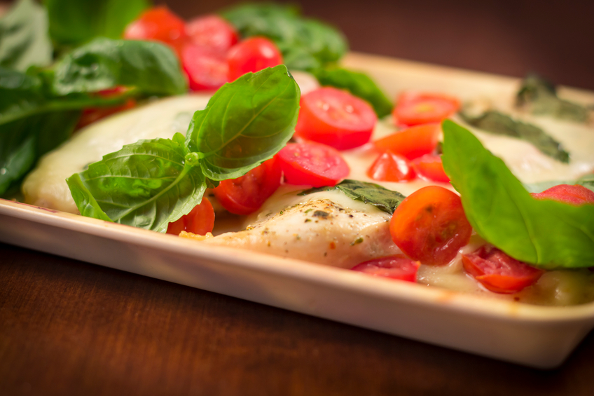 Close-up of Caprese Chicken