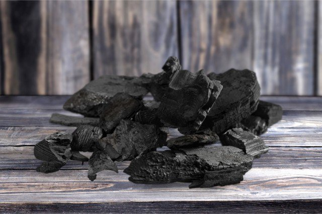 pile of lump charcoal
