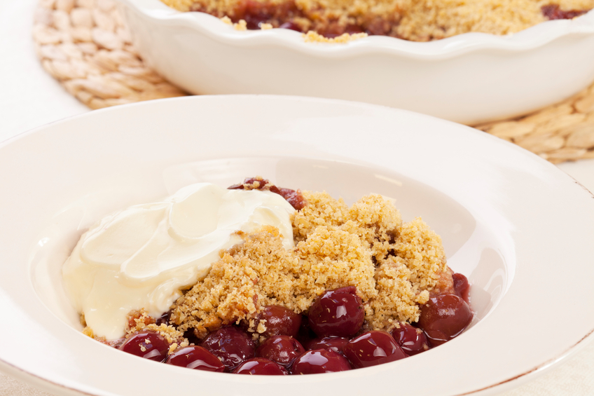 Cherry Crisp with yogurt is one of several easy desserts you can make in the microwave
