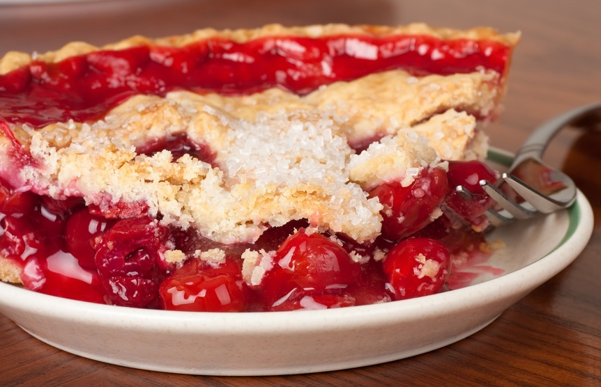 Cherry Pie with fork, pie recipes