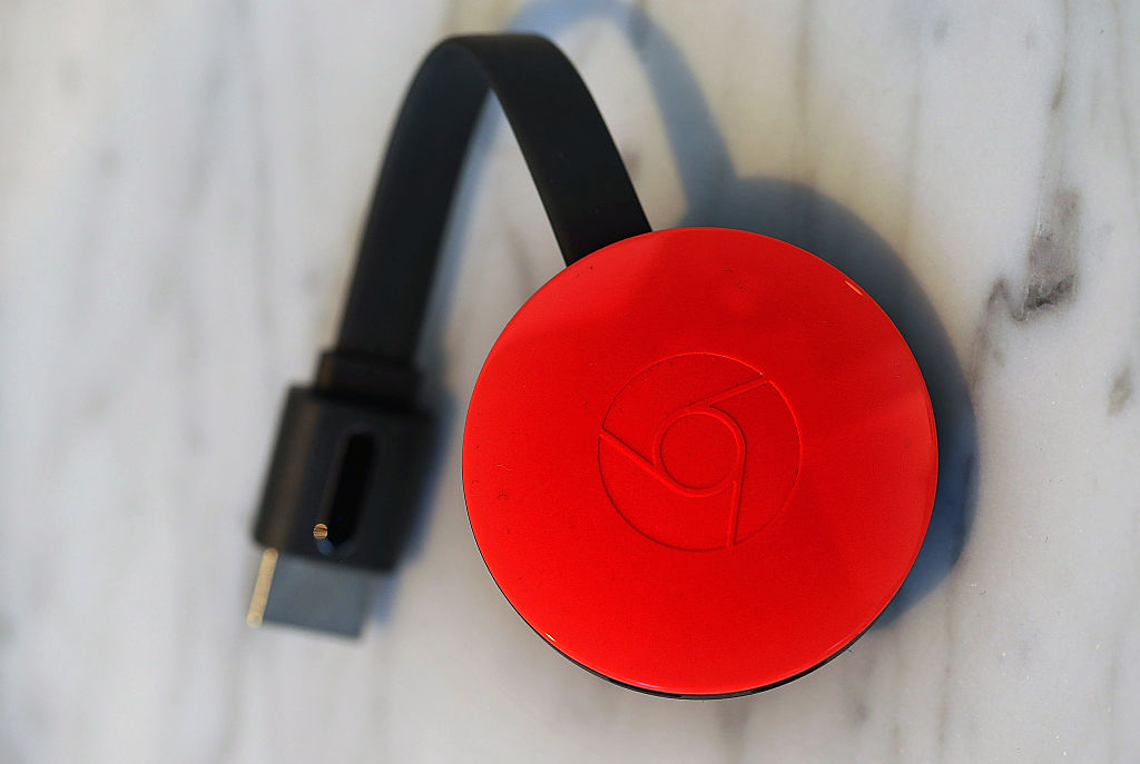 The new Google Chromecast is displayed during a Google media event on September 29, 2015 in San Francisco, California.