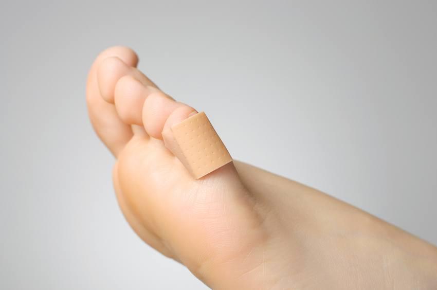 bandage on female toe