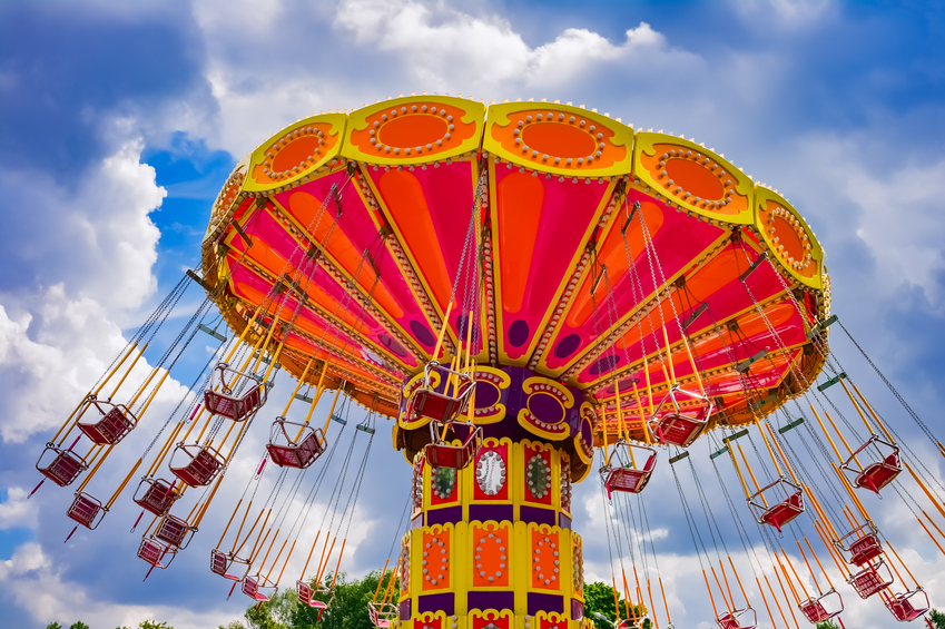 Colorful swing ride in a park