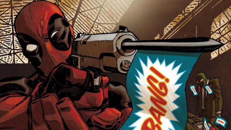 "Deadpool firing a prop gun that says ""Bang"" on a flag"