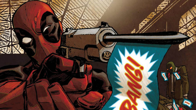 "Deadpool firing a prop gun that says ""Bang"" on a flag"