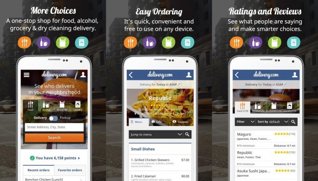 Delivery.com food delivery app