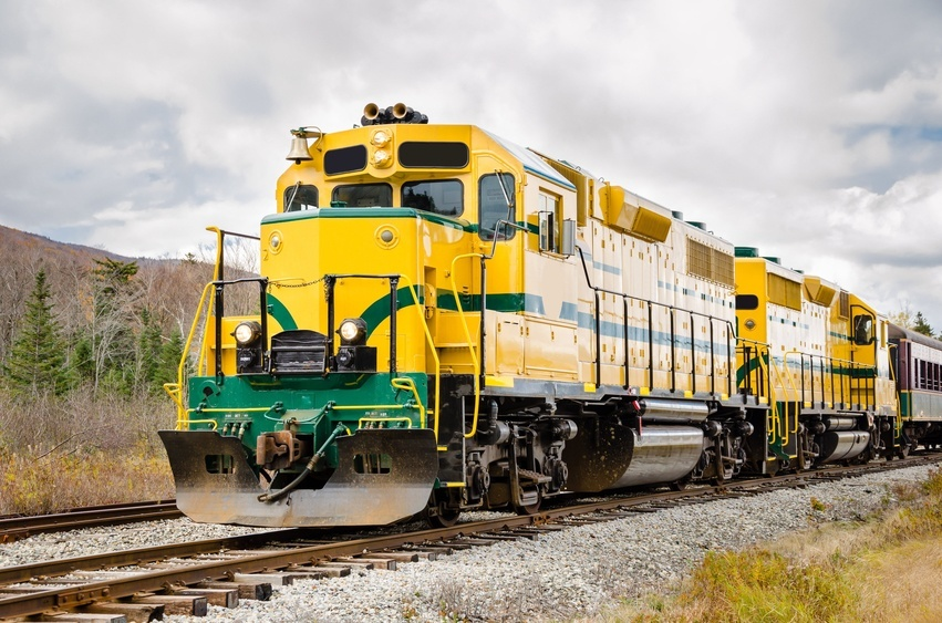 yellow and green colored train