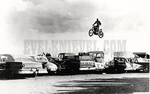Evel Knievel jumping cars