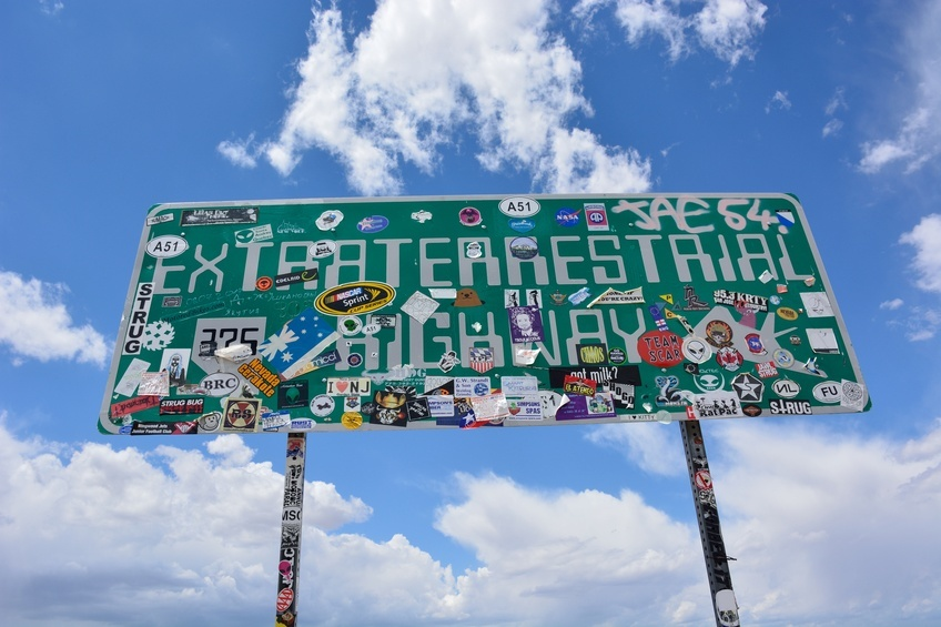 Sign board saying 'Extraterrestrial Highway'