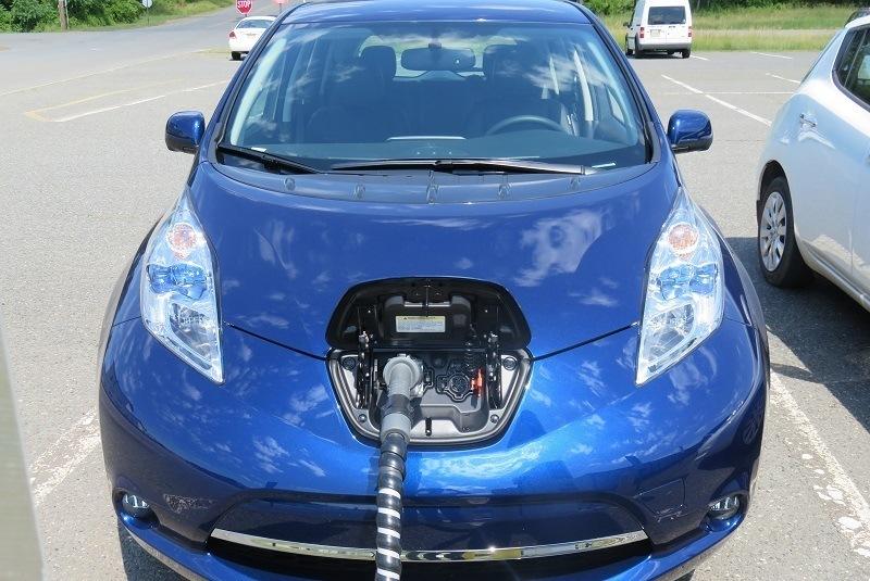 107-mile Nissan Leaf fast charge plug side