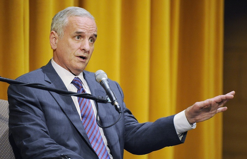 Governor of Minnesota Mark Dayton speaks to Policy Fellows at the Humphrey School of Public Affairs