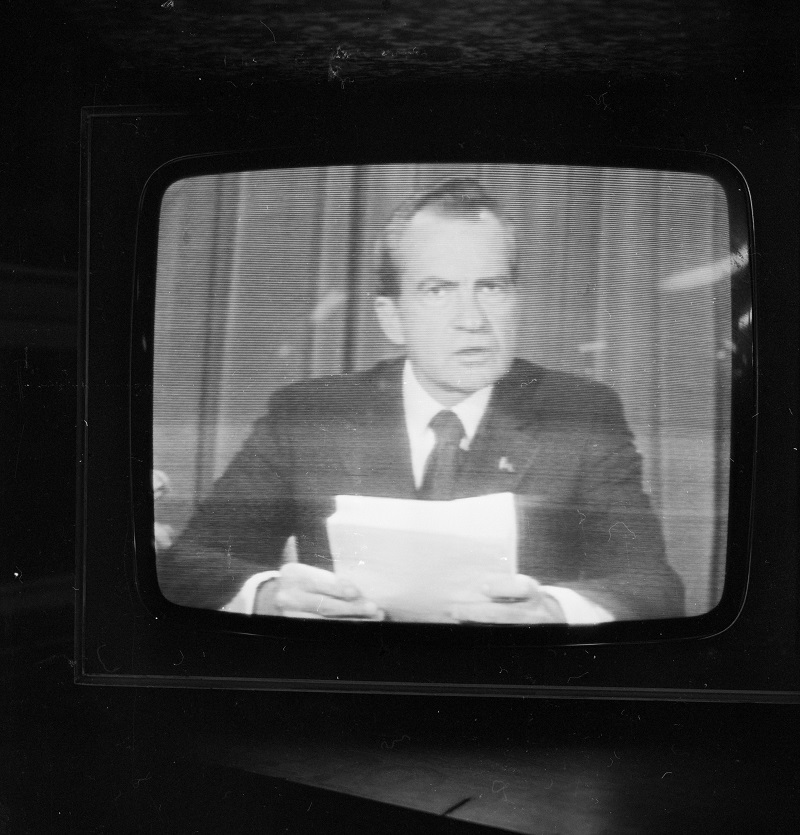American president Richard Nixon (1913 - 1994) announces his resignation on national television