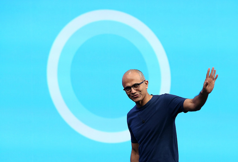 Microsoft CEO Satya Nadella delivers a keynote address during the 2014 Microsoft Build developer conference on April 2, 2014 in San Francisco, California. Satya Nadella delivered the opening keynote to kick off the 2014 Microsoft Build developer conference which runs through April 4.