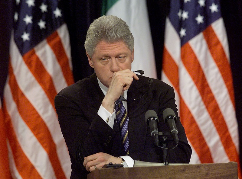"US President Bill Clinton pauses a moment while being asked about former White House intern Monica Lewinsky at a joint press conference with Italian Prime Minister Massimo D'Alema 05 March in the White House in Washington, DC. Clinton said he hoped Monica Lewinsky would have ""a good life"" and get any help she might need to recover from the traumatic White House sex scandal."