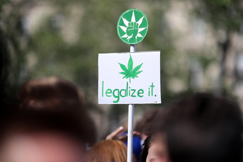 """A banner picturing a cannabis leaf and reading """"legalize it"""" during a march for cannabis and marijuana in Paris 