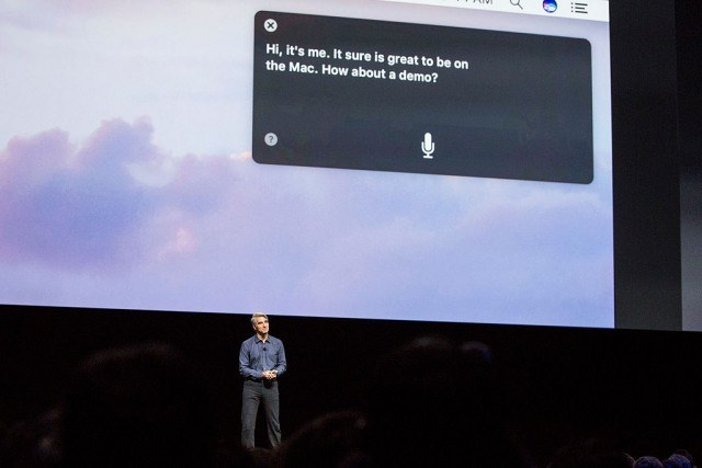 SAN FRANCISCO, CA - JUNE 13: Craig Federighi, Apple's senior vice president of Software Engineering, introduces the new macOS Sierra software at an Apple event at the Worldwide Developer's Conference on June 13, 2016 in San Francisco, California. Thousands of people have shown up to hear about Apple's latest updates. Siri (Photo by Andrew Burton/Getty Images)