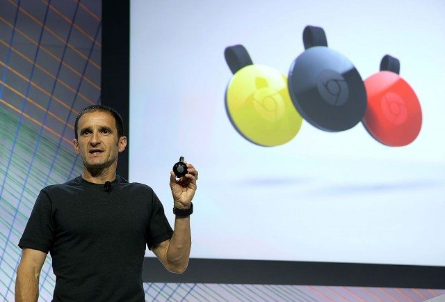 Mario Queiroz, Vice President of Product Management at Google, announces the new version of Google Chromecast during a Google media event on September 29, 2015 in San Francisco, California.