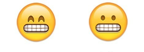Grinning face and grimacing face - emoji meanings