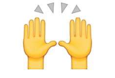 Hands raised in celebration - emoji meanings