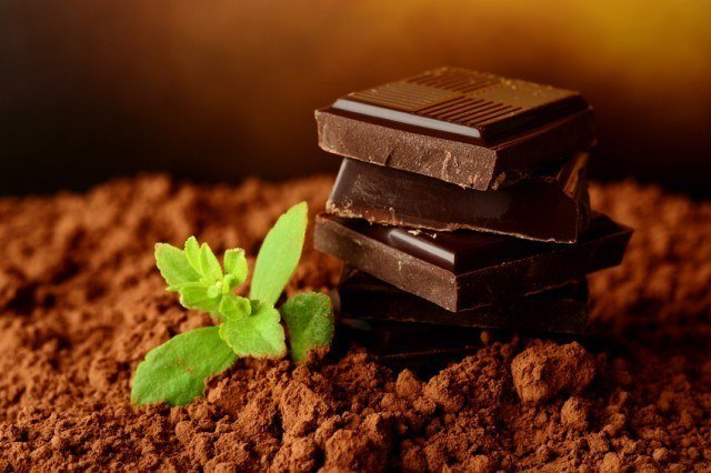 blocks of chocolate with mint