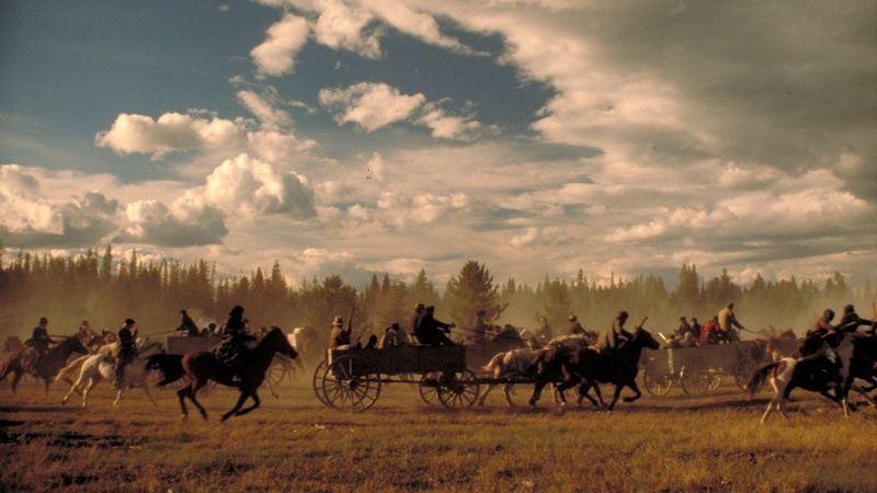 A wagon train from Heaven's Gate