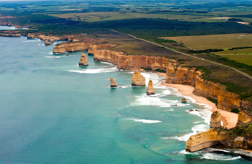 view of the great ocean road in Australia