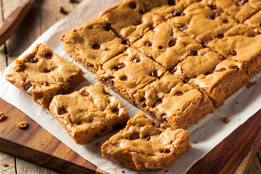 Freshly cut homemade chocolate chip blondies