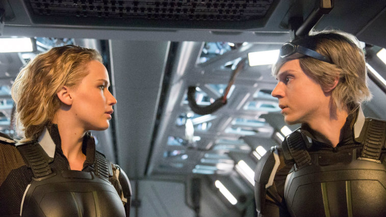 Jennifer Lawrence and Evan Peters in X-Men Apocalypse