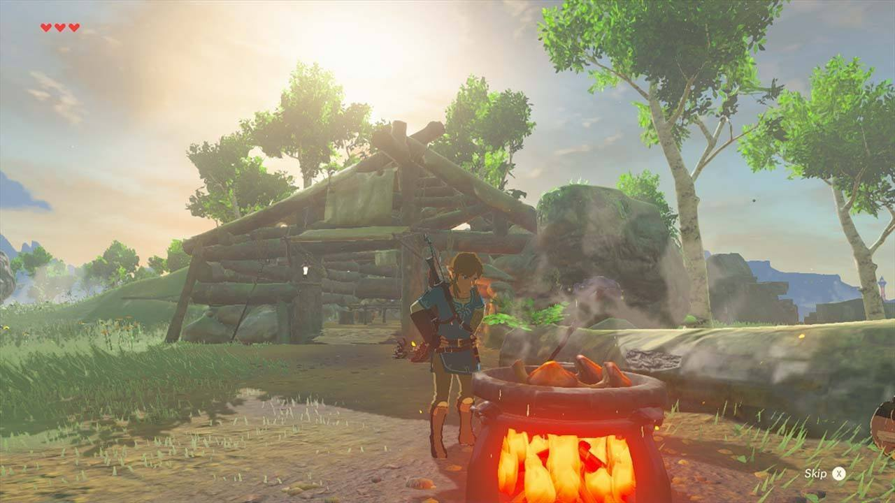 Link cooks in The Legend of Zelda: Breath of the Wild