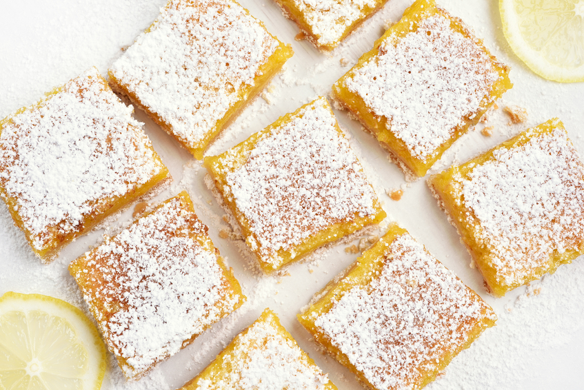 overhead shot of lemon bars with powdered sugar