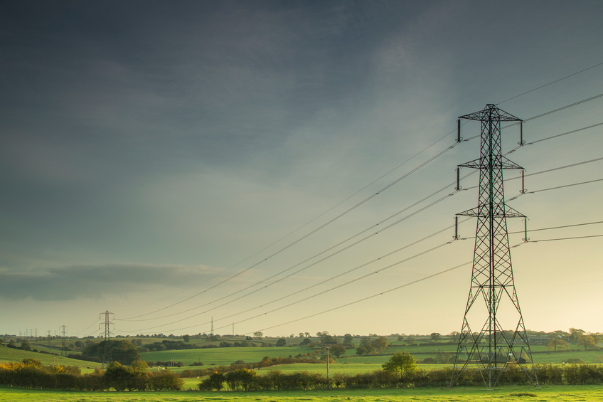 power lines on fields