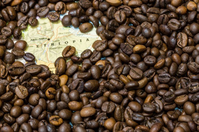 coffee beans on map pointing Ethiopia