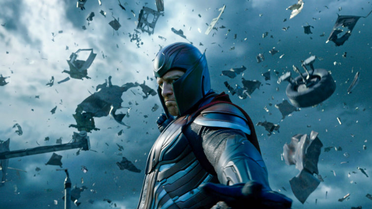 Michael Fassbender's Magneto makes items fly into the sky with his powers in X-Men Apocalypse