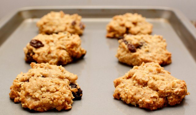 Oatmeal raisin cookies in a tray