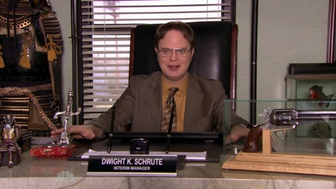 Dwight Schrute after a promotion to regional manager in 'The Office' | NBC