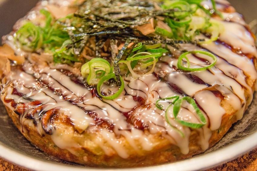 close up of Okonomiyaki